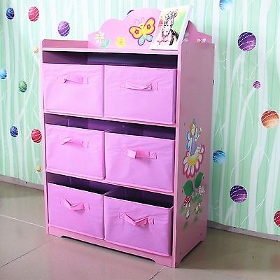 Hand Painted Pink Girl Fairy Toy Storage Ogranis Box Bookcase Kids Furniture