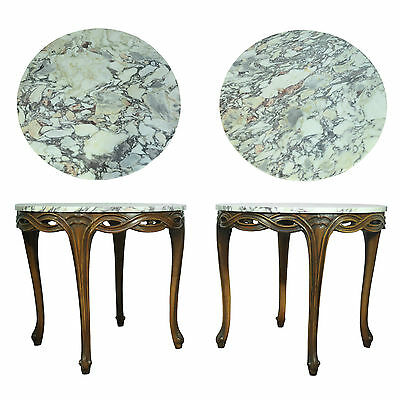 Vtg Pair Carved French Louis XV Provinicial Style Marble Top Round End Tables
