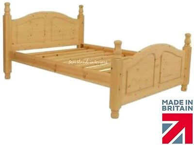 """4ft 6"""" Waxed or Painted Solid Pine Yorvik Bed frame, Double~ King ~Super King"""