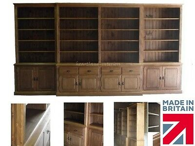 Solid Pine Bookcase, Massive Handcrafted 14ft Wide Break Fronted Display Unit