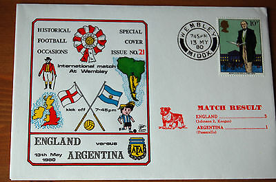 England v Argentina International 1980  - Historical Football Special Cover