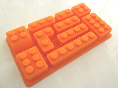 Multi Lego Brick Silicone Jelly Cake Soap Crayon Mold Mould Party Novelty Orange