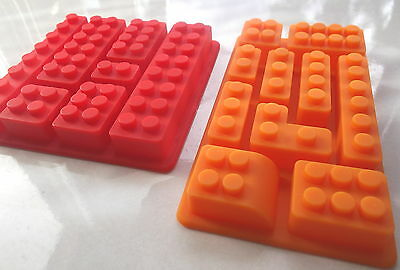 2 Multi Lego Brick Silicone Jelly Cake Soap Crayon Ice Mold Mould Party Novelty