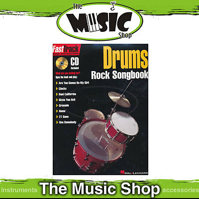 """New """"Fasttrack Drums Rock Songbook"""" Fast Track Book & CD"""