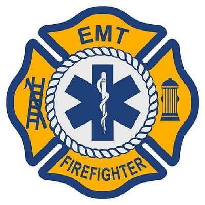 "EMT Firefighter 3"" Die Cut Maltese Cross Star of Life Reflective Emergency Decal"