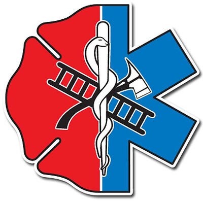 Maltese Cross Star of Life Half and Half Reflective Emergency Decal Size 2 7/8""
