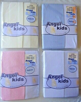 Fitted Moses Basket Fitted Sheets 100% Cotton Pack Of 2 Baby Nursery Bedding