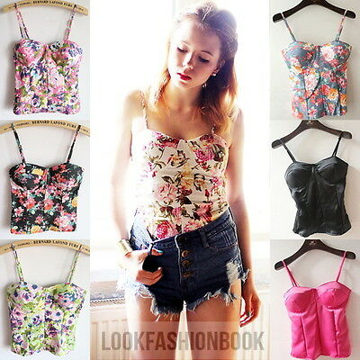 Women Vintage Floral Print Back Zipped Padded Sexy Fitted Corset Bustier Tops