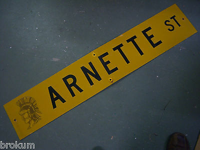 "Vintage ORIGINAL ARNETTE ST STREET SIGN 48"" X 9"" BLACK LETTERING ON YELLOW"