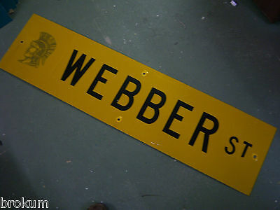 "Vintage ORIGINAL WEBBER ST. STREET SIGN 48"" X 12"" BLACK LETTERING ON YELLOW"