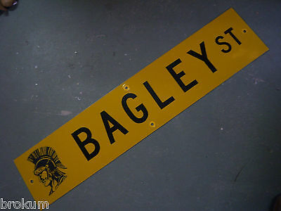 "Vintage ORIGINAL BAGLEY ST STREET SIGN 42"" X 9"" BLACK LETTERING ON YELLOW"