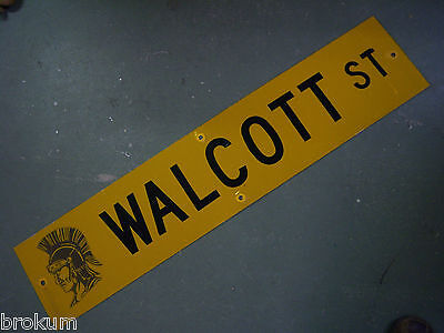 "Vintage ORIGINAL WALCOTT ST STREET SIGN 42"" X 9"" BLACK LETTERING ON YELLOW"