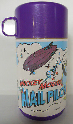 VINTAGE! 1980's Aladdin Mickey Mouse in the Mail Pilot Thermos-Complete