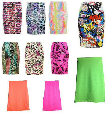 Girls Pencil Skirt Neon Printed Party Summer Trendy Style  78 9 10 11 12 13 Yrs