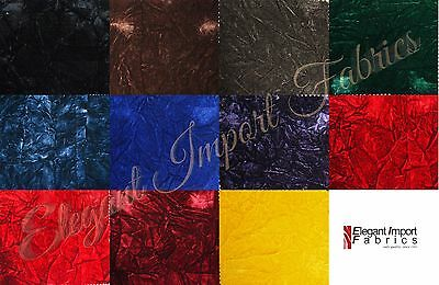 """Crushed Flocking Velvet Upholstery / Curtain Fabric 10 Colors 60"""" By The Yard"""