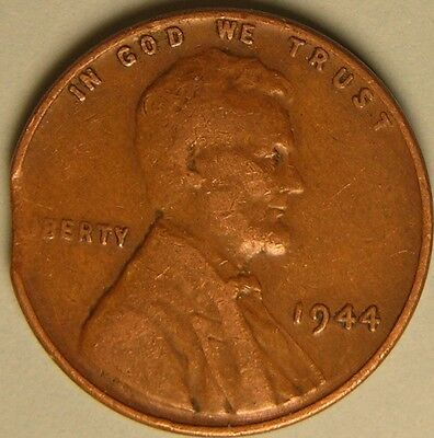 1944 P Lincoln Wheat Penny, Cent, ( Clipped Planchet) Mint Error Coin Ae 436