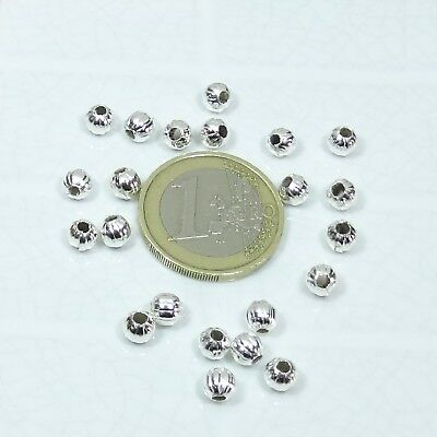 240 Redondos Facetados 5mm  T10C  Plateados Round Beads Silver Plated Perline