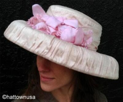 NEW Women's Kentucky Derby Formal Church Hat Light Pink White Bow Straw Summer