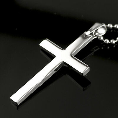 Silver cross stainless steel pendant plain simple classic necklace