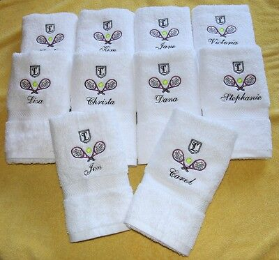 Personalized White Tennis Team Towels (10 towels total)
