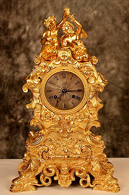 Outstanding Gorgeous French Empire Antique Gilt Solid Heavy Bronze Cherubs Clock