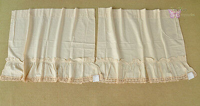 Lovely vintage Ecru Cotton and hand crochet lace Cafe Curtains 1 pair