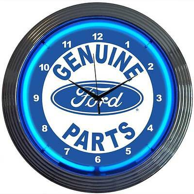New Ford Parts Service Oval neon clock sign garage wall lamp Man cave Mechanic