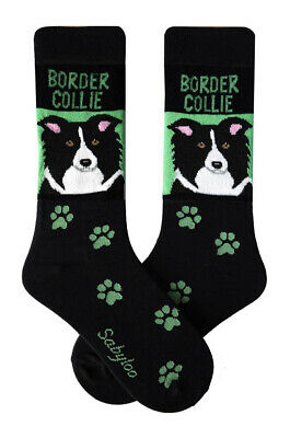 Border Collie Socks Lightweight Cotton Crew Stretch Egyptian Made