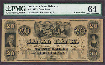 1840s $20 Canal Bank Louisiana, New Orleans PMG CU 64