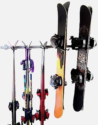 Ski and Snowboard Rack Hanger Display Garage Wall Organizer Monkey Bar Storage