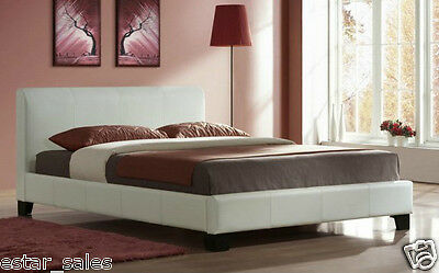 Brand New 4Ft6 Double Leather Bed & Memory Foam Mattress - Black, Brown, White