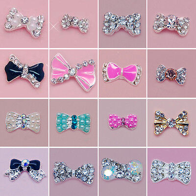 100PC 3D Bow Tie Acrylic Nail Art Decoration Crystal Rhinestone Cell Phone Deck