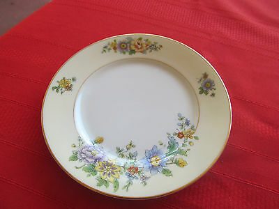 KPM GERMANY 27380 FLORAL SPRAY CREAM RIM W GOLD 1 bread & butter plate 5 7/8""