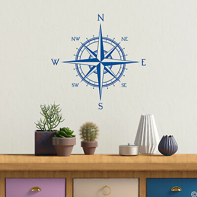 VINYL WALL DECAL Map Of World Compass Travel Globe Earth Stickers