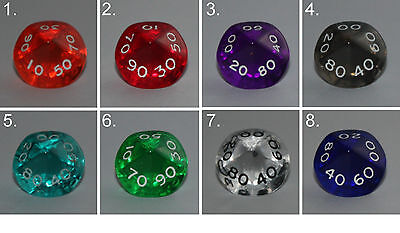 Würfel-Dice-Gem W00-99-Tranparent-Rollenspiel-Lifecounter-Tabletop-RPG-New-Neu