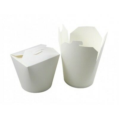 Noodle Pots Food Tubs - White Paper Pails Containers Takeaway Rice Soup Chinese
