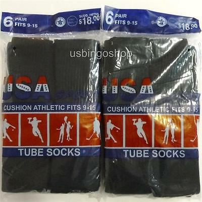 12 Pairs New Black Mens Cotton Athletic Sports Crew Tube Socks 9-15  Made In USA