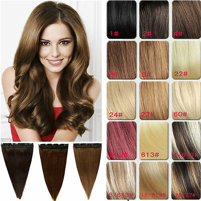 "20"" 100g one piece 5 clips clip-in on real human hair extension"