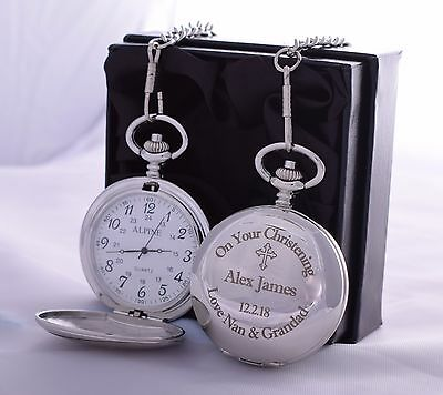 LASER Personalised CHRISTENING Pocket Watch in Silk Gift Box For Godson/Baptism