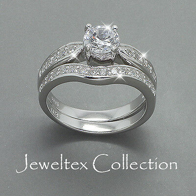 Solid 925 Sterling Silver Engagement / Wedding 2 Rings Set w/ 0.9CT Gems. BS367