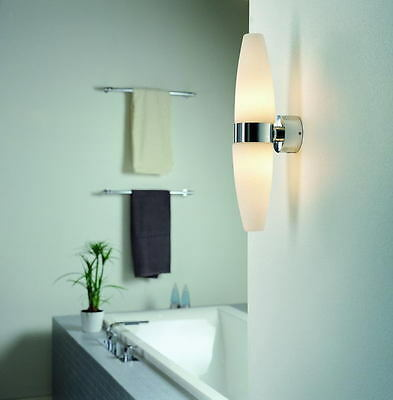 Stylish Double Bathroom Wall Light In Chrome With White Glass Shades IP44