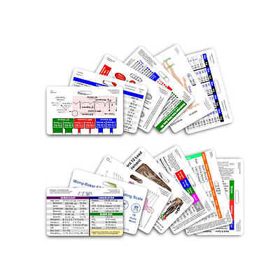 Complete Nurse Horizontal Badge Card Set - 12 Cards - Reference Card RN LPN CNA