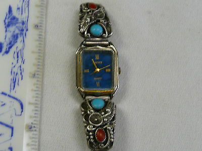 Sterling Womans Watch - Quartz - Native - Coral and Turquoise -