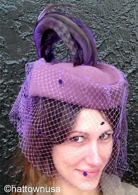 VINTAGE Formal Church Hat Purple Pill Box Rooster Feathers Veil Adolfo II