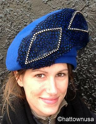 NEW Women's Formal Hat Royal Blue Felt MR. JOHN Feathers Beret Style VINTAGE