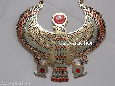 Large Egyptian Hand Made Falcon Enameled Brass Pectoral Necklace With Life key
