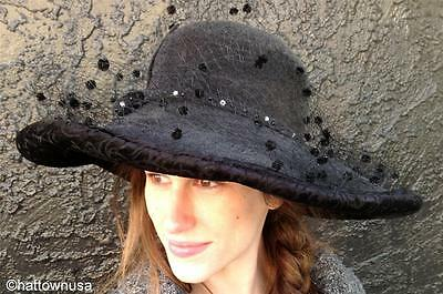 NEW Womens FUR FELT Grey Church Hat Wide Brim Black Velvet B MICHAEL Classy