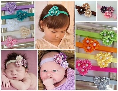 Baby Headbands Headband Satin Flower Newborn Toddler Girl Hair Band Christening