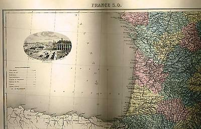 "Migeon Map -1865- ""FRANCE S.O."" - Steel Engraving - Hand-Colored"