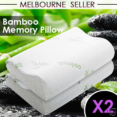2 x Eco-friendly Bamboo Contour Pillow Memory Foam Fabric Fibre Cover 50 x 30cm